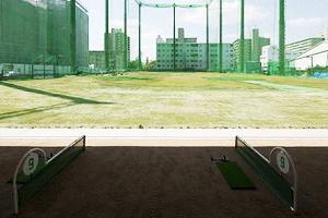 イーグルゴルフ今福校(今福阪奈ゴルフガーデン)の練習場からの景観